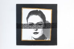 Untitled, 1993, Collage, b/w photo, silver gelatin print, lace, tempera, 68 x 68 cm