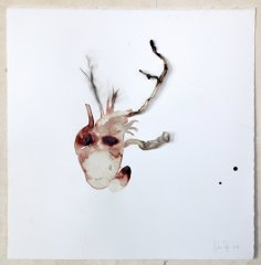 Sofie Muller, smoke-blood drawing (1), 2014 Assemblage, 52 x 52 cm, frame