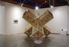 Six ways from Sunday makes for a full week, 2018, sculpture, wood / birch plywood, performance object, 3 x 3 x 3 m, unique + AP