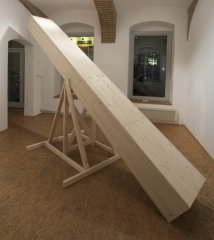 YOUSEEWHATISAW, 2018, Sculpture/Performance/Installation, Wood with metal fasteners, 170 x 400 x 150 cm