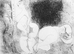 Pablo Picasso, Sans titre, 13 Mars 1971 II, Suite 156, 1971, original aquatint etching, 23 x 31 cm, edition : 19/20, stamp signature