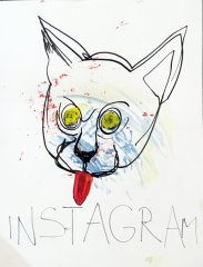 Instagram,  2015, mixed media on paper, 65 x 50 cm, framed
