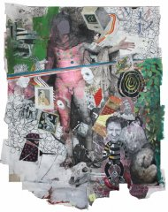 Der Mythos /The Myth, 2018-19, mixed media on paper, mounted on cotton fabric, 200 x 170 cm