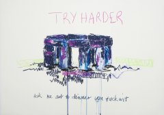 Laura Fitzgerald, Try harder, 2019, artist crayon on paper, 50 x 70 cm