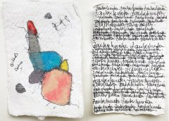 Denise Schellmann, Zauberknoten, 2020, diptych, mixed media on paper, each 8 x 5,5 cm
