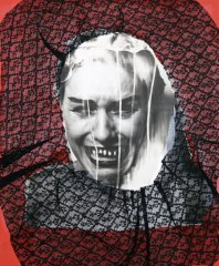 Vlasta Delimar, Injustices,1992, collage (b/w photo, lace), 56 x 46 cm