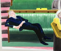 Brexit Nickerchen / Take a Brexit nap, 2020, oil on canvas, 60,4 x 70,3 x 3,3, cm
