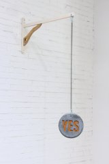 NICK-ME-NOD, 2019, interactive kinetic sculpture, plaster, metal spring, wood, acrylic paint object (22 x 22 x 4 cm), wood-hanging (38 x 32 x 3 cm)