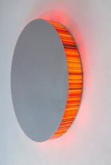 Hans Kotter, Interference, 2020, light object,100 cm (diameter), polished stainless steel, LED's color change, remote, edition: unique color code