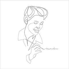 Ray Eames, 2020, digital art, oneline pencil drawing, 50 x 50 cm,  edition: 3