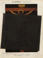 Milija Pavićević, Velazques-Malevich, collage, mixed media, 31 x 23,5 cm, 1985