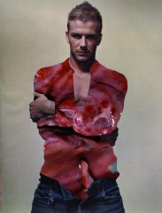 Marko Zink, David Beckham, collage (photography, sheet of magazine) from the series Fleisch, 30 x 21 cm, 2001