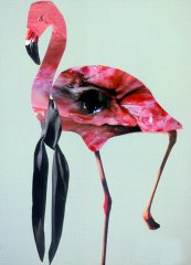 Marko Zink, Flamingo, collage (photography, sheet of magazine) from the series Fleisch, 30 x 21 cm