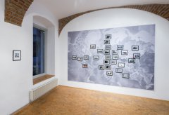 World order composition (exhibition view), 2015, 338 x 267 cm, installation, found footage photography, acrylic and ink, unique