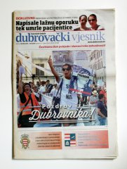 Pozdrav iz Dubrovnika! 2013, 21 x 40 cm, Readymade, unique (newspaper)