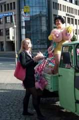 "I've got bigger boobs than your mother, 2012, Performance, 2 x 25min, in public space in the frame of ""Irritazioni momentanee. Attenzione!"" of AktionsTheaterKassel"