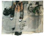 Wurfparabel, 2013, mixed media on paper mounted on canvas, 130 x 170 cm