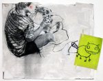 Heinz likes to play with his cat, he likes to play with his cat a lot, 2012, mixed media on paper, mounted on canvas, 100 x 120 cm