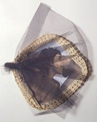 Cock on Tongue, 1983, collage: b/w photo, lace, tempera, tulle, 40 x 30 cm