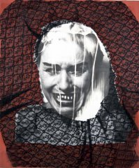 Injustices, 1992, collage: b/w photo, lace, 56 x 46 cm
