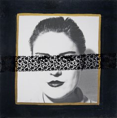 Untitled 1993,collge: b/w photo, lace, tempera, 68 x 68 cm